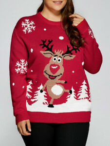 Christmas Deer Winter Sweater Warm Plus Size Casual XL-5XL Round