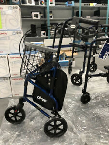 3 WHEEL ROLLATOR WALKER WITH BASKET TRAY & POUCH- NEW- mnx
