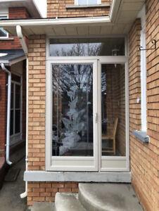 Glass inserts, porch enclosures, patio door, blinds.