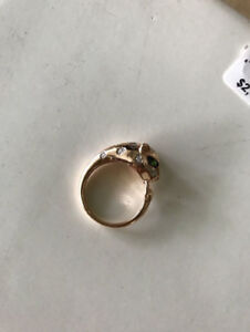 Rose Gold EFFY ring with diamonds - panther ring