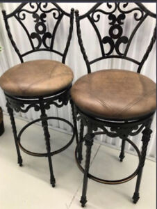 THESE TWO CLASSY BAR CHAIRS /STOOLS! Rod Iron look metal top /bo