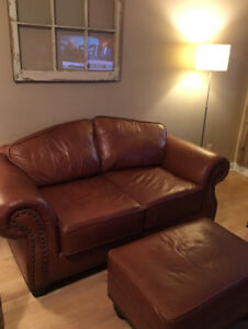 Amazing leather love seat & ottoman for sale. $400.