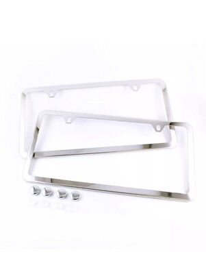 2PCS SLIM CHROME STAINLESS STEEL LICENSE PLATE FRAME SCREW CAP /SLIM 2 HOLE CF-2