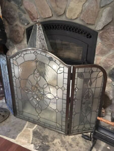 Large Stained Glass Fireplace Screen