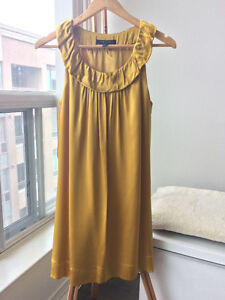 BCBG Max Azria 100% Silk Gold Yellow Prom Cocktail Dress