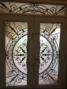 DECORATIVE DOOR GLASS INSERTS WROUGHT IRON STAINED GLASS INSERTS