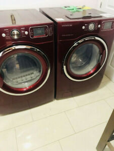 Daewoo front load cherry washer and dryer for sale