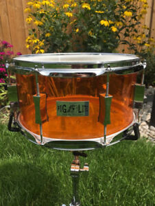 Pork Pie 13x7 Pig Lite Snare Drum Orange Acrylic