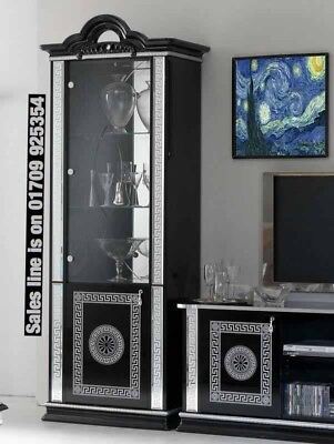 Versace Design Italian Black/Silver 1 Door Vetrine/Display Cabinet