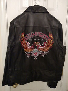 Harley-Davidson Men's Leather Riding Jacket Size XL Hand Painted