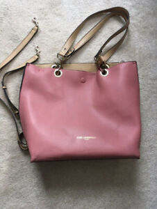 Karl Lagerfeld Reversible Tote Purse in Pink/Camel