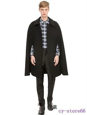 Wool Blend Show Coat (Wool Blend Black Cape Mens Shawl Coat Lapel Sleeve Cloak Parka Show Coats 2019 )