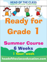 Get ready for grade 1, 6 week summer course, 1 hour/ week.