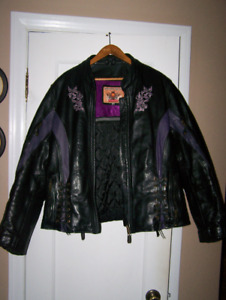"""Bikers Gear"" Ladies Leather Motorcycle Jacket"