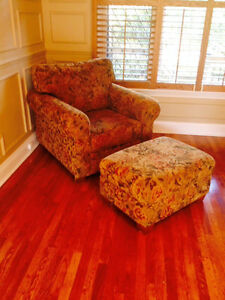 Two High Quality Deep Chairs with Ottoman's