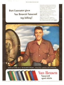 1953 full-page ad for Van Heusen  Shirts, with Burt Lancaster
