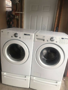 Lg front load washer and dryer with pedestal for sale