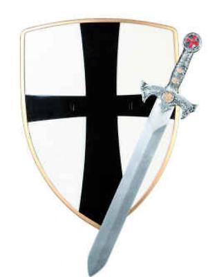 Herren Ritter Set Ritterschwert Ritterschild Kostüm Uniform Rüstung - Herren Uniform Kostüme