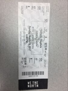2 Raptors tickets for sale $300.00; section 121