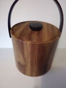 Vintage Faux Wood Grain Ice Bucket-Insulated