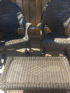 Two wicker Rockers and table