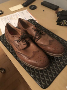 Designer Brown Leather Brogue Oxford Wingtip Dress Shoes *Steal*
