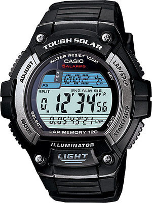 CASIO TOUGH SOLAR WORLD TIME ALARMS 120 LAP MEMORY MEN'S WATCH W-S220-1A NEW Memory World Time Watch