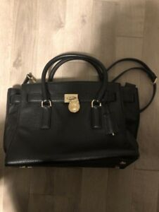 Michael Kors Black Leather Hamilton Tote - Gold Hardware
