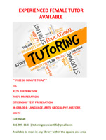 Experienced Female ESL Tutor Available **Other subjects**