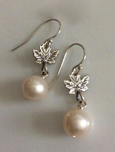 Canada's 150 Sterling Maple and Freshwater Pearl Earrings