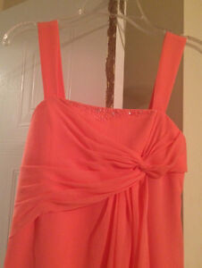 Coral coloured chiffon dress