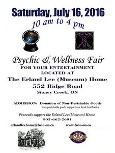 Psychic and Wellness Fair at the Erland Lee Museum