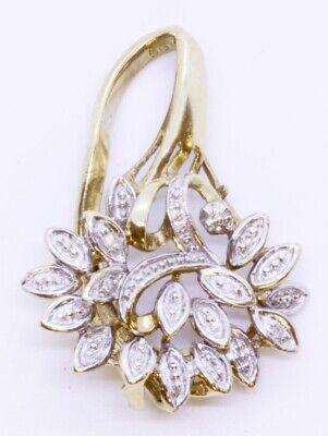 Custom 9K Solid Yellow Gold Vintage Round Diamond Floral Bouquet Cluster Pendant 9k Gold Diamond Pendant