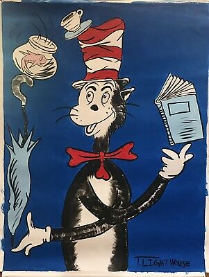 "T LIGHTHOUSE ""HOMAGE TO DR. SEUSS CAT IN THE HAT"" ORIGINAL ACRYLIC ON CANVAS H/S"