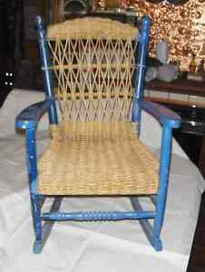 Antique Childs  Wicker & Wood Rocking Chair