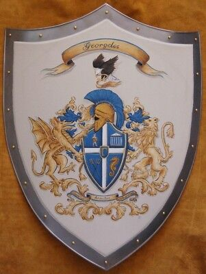 Medieval shield, Family Coat of Arms metal knight shield - custom hand - Custom Medieval Shield