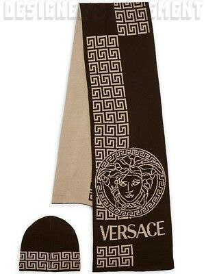 VERSACE wool blend Black & Beige GREEK KEY MEDUSA scarf & hat Set NIB BOXED Auth