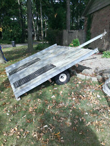 Galvanized double skidoo tip trailer- Perfect Shape
