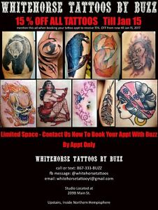 Whitehorse Tattoos By Buzz 15% Off Sale Till Jan 15