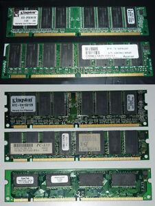 Lot de 5 Barettes de Mémoire SDRAM PC133 (Total 576MB)