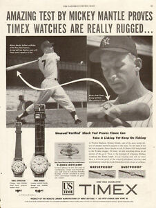 Vintage authentic 1953 magazine ad for Timex with Mickey Mantle