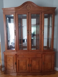 Large 2 piece CHINA CABINET with interior lights
