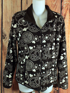 Old Navy Brown Hearts and Peace Symbols Fleece Jacket Womens London Ontario image 1