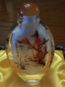 Chinese glass painted snuff bottle