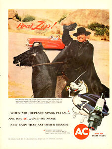 Large 1959 full-page color ad for AC Spark Plugs with Zorro