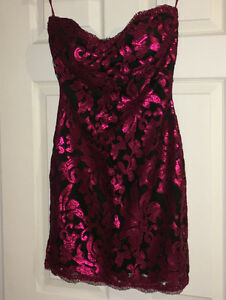 "Magenta Lace Black Padded Strapless Dress (size ""Large"")"
