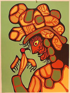 """Native Canadian Norval Morisseau Serigraph """"Carl"""" signed"""