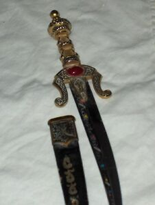 Sword-like letter opener with leather and metal sheath West Island Greater Montréal image 6