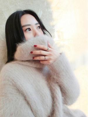 Faux Kaschmir-pullover (Faux Nerz Kaschmir Damen Pullover Langarm Furry Rollkragen Kurz Strick sweater )