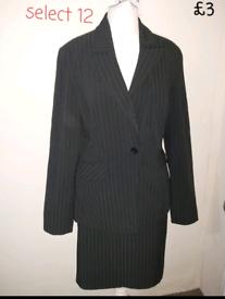 Womens ladies size 12 suit jacket skirt formal black pink stripe